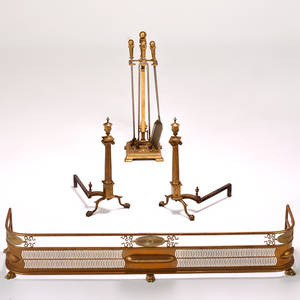 Neoclassical fireplace set pair of andirons fender and tools unmarked fender 11 12 x 65 x 13