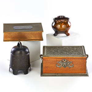 Decorative group four pieces 20th c wavecrest brass humidor jb owens threefooted vase chinese bronze bell wood and white metal jewelry box 20th c bell 7 x 5