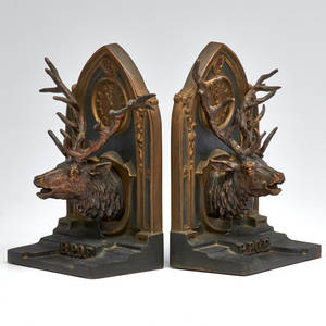 Bradley and hubbard bronze bookends order of the moose 11th hour signed early 20th c each 8 x 5 x 4