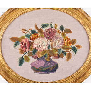 Floral needlepoint and oil painting three needleworks vase of flowers on woven material and two baskets of flowers with lace on velvet together with oil on canvas of still life illegibly signed al