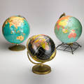 Crams universal replogle weber costello three tabletop globes usa ca 1950s mixed metals paper each with manufacturer label largest 16 14 x 11 dia