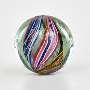 Internal swirl marble early 20th c handblown glass unmarked 1 34 dia provenance private collection connecticut acquired from the collection of allen hendershott eaton