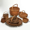 Woven baskets group of eight usa late 19thearly 20th c reed split oak birch unmarked largest 14 x 20 x 26 provenance private collection connecticut acquired from the collection of al