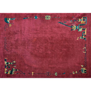 Tibetan artdeco style roomsized rug nepal late 20th c handknotted wool labeled 132 x 102