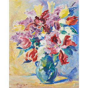 Florence tricker american 18921979 oil on canvasboard of floral still life framed signed 20 18 x 15 34