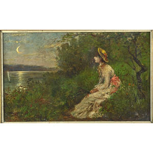 E leon durand american 19th20th century oil on canvas of woman sitting at water bank with crescent moon gilt framed signed 10 x 15 34