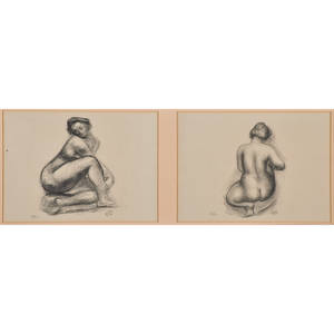 Aristide maillol french 18611944 eight offset lithographs of female nudes from dialogues des courtisanes 1948 all framed some monogrammed in stone all numbered 1650 in pencil largest 14