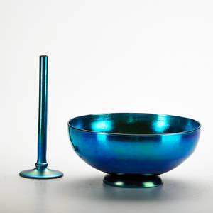 Steuben blue aurene bud vase and bowl corning ny 1930s both marked bowl 4 x 9 dia