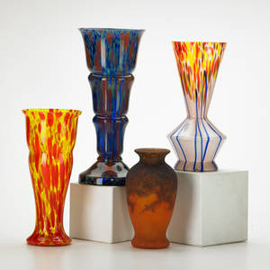 Muller freres etc four vases baluster pate de verre luneville france together with two czechoslovakian and one similar ca 1930s muller freres signed and both czech marked tallest 11 x 5