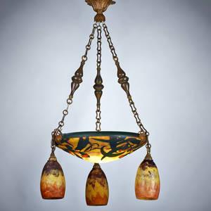 Daum acidetched cameo glass ceiling fixture france ca 1900 glass patinatedmetal threesocket marked daum nancy france 34 x 17 dia