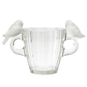 Lalique deux pigeons vase clear and frosted glass france des 1931 m p 453 no 1066 etched r lalique france 8 x 12 12
