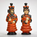 Waylande gregory cowan pottery set of king and queen decanters ca 1930 glazed porcelain signed in mold each12 x 5 dia