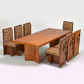 Style of frank lloyd wright dining set table and eight side chairs and similar lounge chair usa 1970s wood brass upholstery unmarked chair 37 12 x 16 x 22 12 lounge 35 x 34 x 37