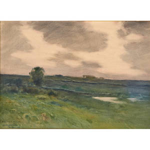 Charles warren eaton american 18571937 pastel on paper landscape framed signed and inscribed 10 12 x 14 34 sight