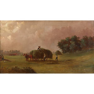 Nelson s bowdish american 18311916 oil on canvas of pastoral scene framed signed 16 x 28