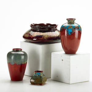 Bernard moore four pieces in red flambe glaze two baluster vases low bowl and similar bud vase stokeupontrent england ca 1910 most signed tallest 5 x 3 dia