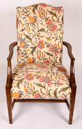 Crewel Work Upholstered Arm Chair