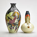 Wiener kunst keramik werkstatte etc bottleneck vase with handpainted roosters and similar with stylized floral motif austria ca 1910 both marked taller 12 x 6 dia