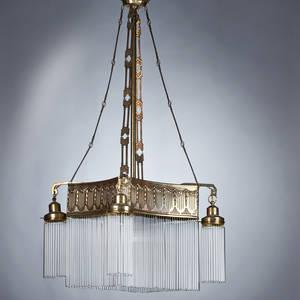 Jugendstil fivelight chandelier ca 1900 embossed brass and glass unmarked 44 x 23 sq