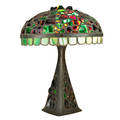 Austrian chunk jewel table lamp with illuminated base early 20th c bronze cut and leaded glass three sockets unmarked 21 x 16 dia