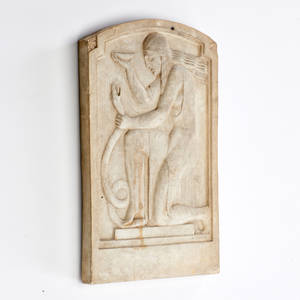 Art deco relief panel 20th c stone and plaster composition marked p tosto 12 14 x 7 78 x 1