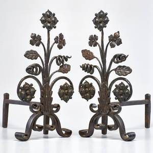 Arts and crafts pair of wrought iron and bronze andirons usa early 1900s unmarked each 20 x 10 x 19