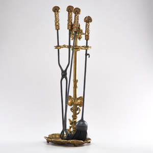 Art nouveau style contemporary set of fire place tools poker tongs brush and stand 20th c brass and iron overall 30 x 9 12 x 7 12