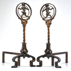Oscar bach attr pair of satyr andirons usa 1920s wrought iron and bronze unmarked each 24 x 10 x 19 12