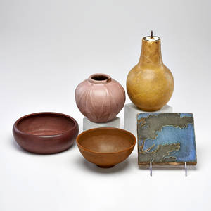 Van briggle five pieces a partial landscape tile a lamped vase and three vessels colorado springs co 190028 all marked tallest 9 12 x 5 dia provenance private collection connecticut