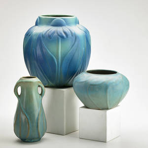 Van briggle three vases in ming blue glaze two with leaf patterns and one with flowers colorado springs co late 1910s marked aa 19 aa 9 aa van briggle tallest 9 12 x 10 12 dia