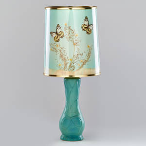 Van briggle floral table lamp in blue glaze with original butterfly shade colorado springs co marked van briggle colo spgs and artist cipher 23 12 x 9 14 dia