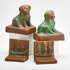 Van briggle two pair bookends dog and ship mountain craig glaze colorado springs co 1910s both dog bookends marked aa others unmarked tallest 5 x 5 x 3