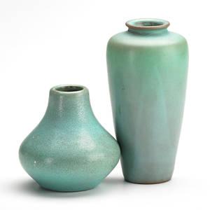 Van briggle two vases in ming blue glaze colorado springs co 1905 marked aa van briggle 1905 335 xv aa van briggle 1905 385 12 taller 6 14 x 3 dia