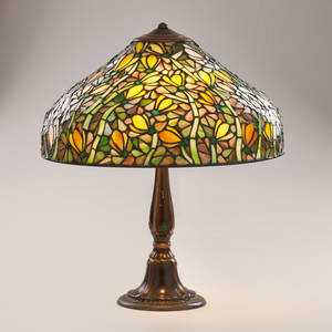 Bradley  hubbard attr patinated metal table lamp base married to newer leaded slag glass shade usa ca 1910s unmarked 22 12 x 19 dia