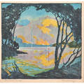 Pedro joseph lemos american 18821954 relief print in colors the sunset mountain framed signed and titled 10 18 x 10 12 sight