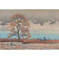 Hasui kawase japanese 18831957 woodcut in colors rain on lake matsue 1932 framed signed 10 x 14 12 sight
