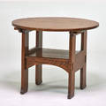 Arts and crafts fliptop chair table usa ca 1915 quartersawn oak unmarked 29 x 36 dia