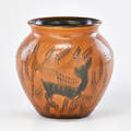 William hentschel rookwood later matmat moderne vase decorated with deer cincinnati oh 1927 flame mark and artist cipher 6 12 x 6 12 dia