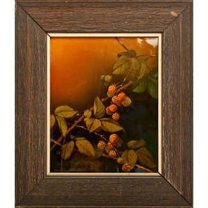 Albert valentien rookwood standard glazed plaque decorated with raspberries cincinnati oh ca 1900 framed flame marked plaque only 10 x 8 14 provenance sold by the los angeles county mus