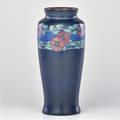Lorinda epply rookwood vellum vase with band of morning glory cincinnati oh 1918 flame mark xviii1664d and artist cipher 11 x 4 34