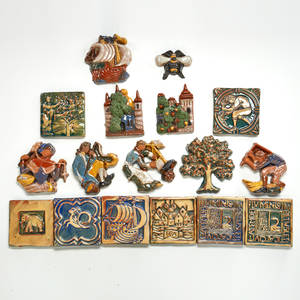 Moravian tile works seventeen tiles including nine brocades doylestown pa unmarked tree 5 x 5 provenance private collection connecticut acquired from the collection of allen hendershott ea