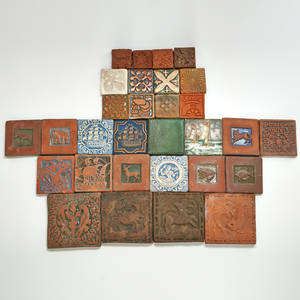 Grueby royal delft moravian tile works 30 tiles square grueby delft de porcelyne fles and 28 moravian most with impressed decoration unmarked grueby and royal delft each 4 sq provenance p