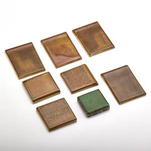 Grueby fulper approximately fifty each square grueby tiles in green glaze and fulper tiles in brown glaze usa unmarked fulper large 3 12 x 2 14 fulper small 2 14 x 2 14 grueby 2 s