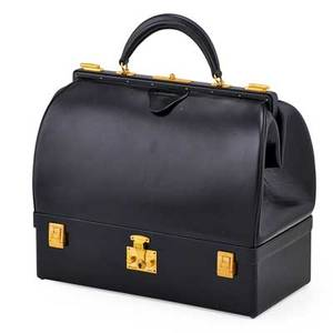 Hermes noir box calf leather sac malette bag rouge h box calf leather interior gold tone hardware multiple interior compartments cosmetic compartment base ca 1960 stamped hermes paris 13