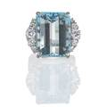 Aquamarine and diamond white gold ring rectangular step cut aquamarine 173 x 132 x 93 mm 156 cts by formula and diamond shoulders approx 76 ct tw in 18k wg on 14k wg hinged shank for e