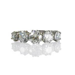 Diamond platinum fivestone ring graduated oec diamonds in sixprong crown settings approx 235 cts tw ca 1930 size 8 21 dwt property from the collection of gray davis boone