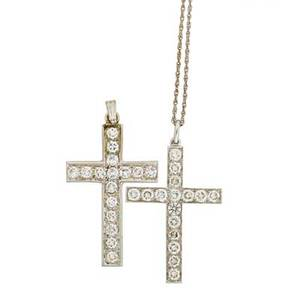 Two diamond platinum 18k gold cross pendants rbc diamonds 43 cts tw throughout with delicate 14k wg chain 15 20th c unmarked both 1 12 x 1 64 dwt