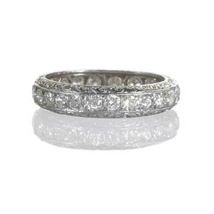 Art deco diamond platinum eternity band bead set oec diamonds approx 24 cts tw engraved edges size 6 17 dwt property from the collection of gray davis boone