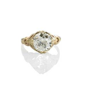 Oec diamond solitaire ring circular diamond approx 308 cts in 10k yg ca 1940 size 7 2 dwt property from the collection of gray davis boone