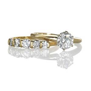 Diamond 18k yellow gold wedding ring set bright round brilliant cut diamond 92 ct by formula in six prongs fivestone band 76 ct tw ca 1970 size 7 14 27 dwt